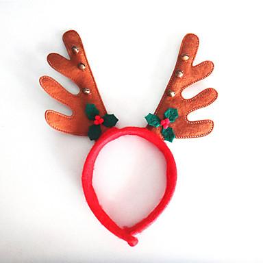 크리스마스 종소리가 갈색 천으로 뿔 잎 2 개 뿔은 후프 버클 만화 동물 모델을 머리