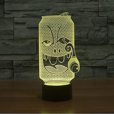 dohányzás üveg érintőképernyő tompítása 3D LED éjszakai fény 7colorful dekoráció hangulat lámpa újdonság világítás karácsonyi fény