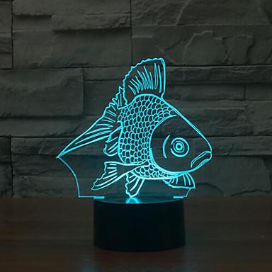 물고기 터치 디밍 차원 야간 조명 7colorful 장식 분위기 램프 참신 조명 크리스마스 조명 주도