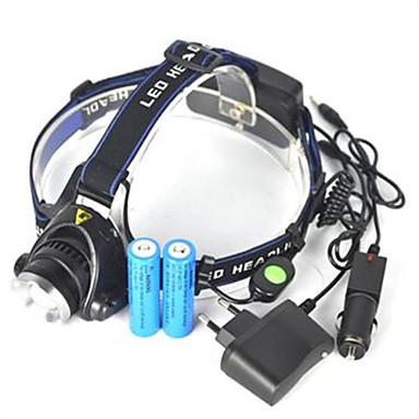 baratos Lanternas de Cabeça-Lanternas de Cabeça Farol para Bicicleta LED Cree® XM-L T6 Emissores 5000 lm 1 Modo Iluminação Controle de Ângulo Super Leve Campismo / Escursão / Espeleologismo Ciclismo Caça