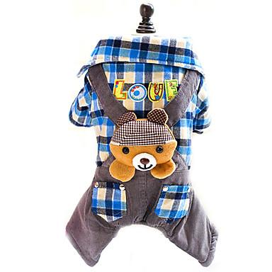 강아지 점프 수트 강아지 의류 면 모든계절/가을 겨울 귀여운 패션 격자무늬/체크 로즈 블루 애완 동물
