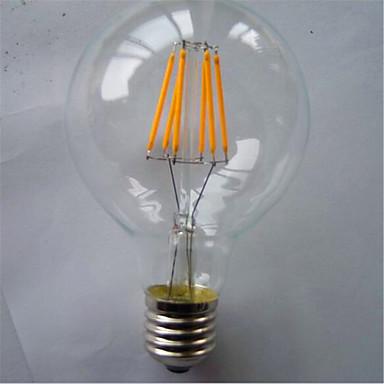 1 개 500-550 lm E26/E27 LED필라멘트 전구 G80 6 LED가 COB 장식 따뜻한 화이트 옐로 AC 220-240V