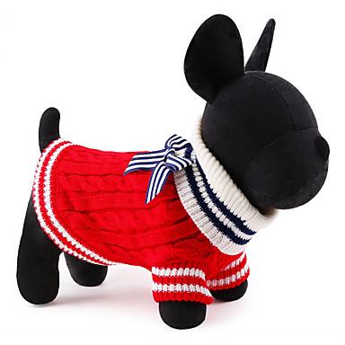 Γάτα Σκύλος Πουλόβερ Χριστούγεννα Ρούχα για σκύλους Χαριτωμένο Πρωτοχρονιά Συνδυασμός Χρωμάτων Κόκκινο Μπλε Στολές Για κατοικίδια