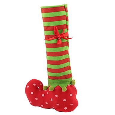 pończochę butelkę czerwonego wina pokrywy torby torba prezent Boże Narodzenie Xmas stole dekoracji wnętrz firm dekory