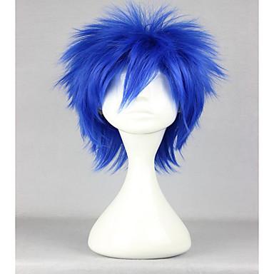 Peruki syntetyczne Prosto Gęstość Bez czepka Damskie Niebieski Karnawałowa Wig Halloween Wig cosplay peruka Krótki Włosy syntetyczne
