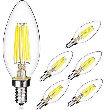 6szt 5W 560lm E14 Żarówka dekoracyjna LED C35 6 Koraliki LED COB Ciepła biel Zimna biel 220-240V