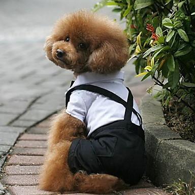 Hond kostuums Smoking Hondenkleding Kleurenblok Zwart/Wit Textiel Binnenwerk Kostuum Voor huisdieren Heren Cosplay Bruiloft