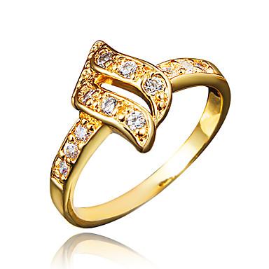 Γυναικεία Cubic Zirconia Δαχτυλίδι - Επιχρυσωμένο, 18Κ Επίχρυσο Χρυσό, Λευκό