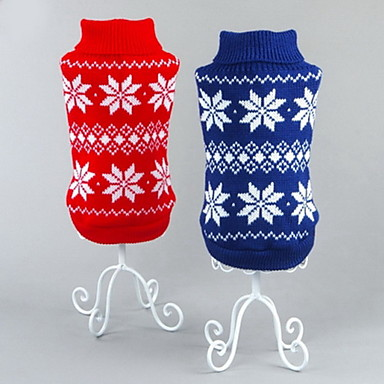 Cat Dog Sweater Christmas Dog Clothes Classic New Year's Christmas Snowflake Red Blue Costume For Pets