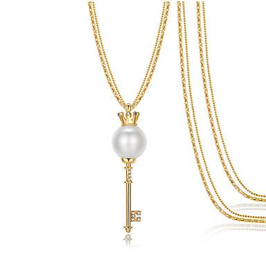 Damskie Naszyjniki z wisiorkami Breloczki Crown Shape Stop Serce Modny Podwójna warstwa Biżuteria Na Ślub Impreza Codzienny Casual