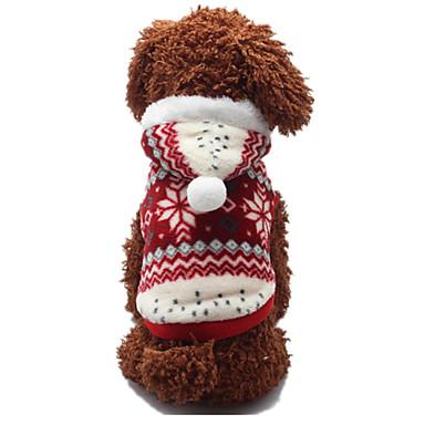 Σκύλος Πουλόβερ Ρούχα για σκύλους Μάλλινο Άνοιξη/Χειμώνας Χειμώνας Καθημερινά Χιονονιφάδα Κόκκινο Για κατοικίδια