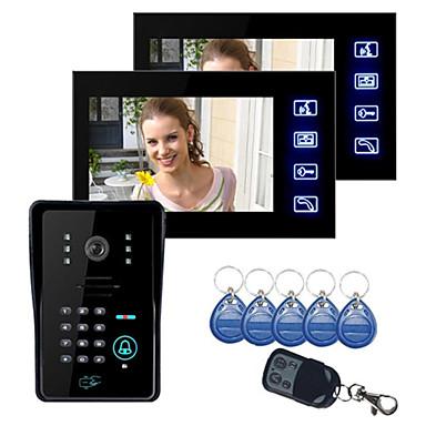"""ieftine Sisteme de Control Acces-Tasta tactilă 7 """"display color color LCD sistem interfon telefon cu w camera ir camera și codul tastatură unu-două video 420tvline cmos camra"""