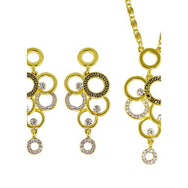 مجموعة مجوهرات حجر الراين ذهبي 1 قلادة 1 زوج من الأقراط إلى زفاف حزب يوميا فضفاض 1SET هدايا الزفاف