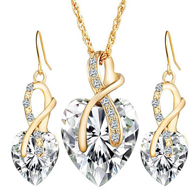 Women's Jewelry Set Drop Earrings Pendant Necklace Crystal Synthetic Diamond Crystal Heart Love Bridal Elegant European Wedding Party
