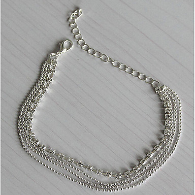 Damskie Łańcuszek na kostkę Posrebrzany Imitacja diamentu Wielowarstwowy Modny Europejski Łańcuszek na kostkę Silver Biżuteria Na