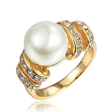 Γυναικεία Μαργαριταρένια Δαχτυλίδι - Επιχρυσωμένο, 18Κ Επίχρυσο Χρυσό, Λευκό