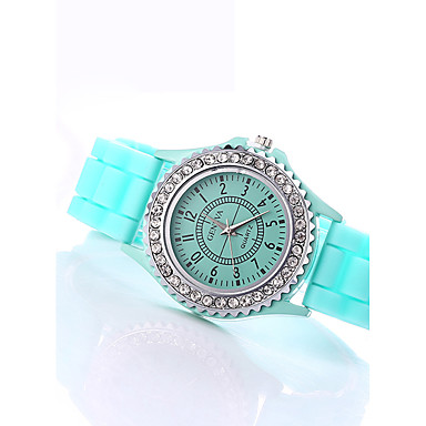 Damskie Kwarcowy Zegarek na nadgarstek / sztuczna Diament Silikon Pasmo Błyszczące Modny Czarny Biały Niebieski Czerwony Pomarańczowy