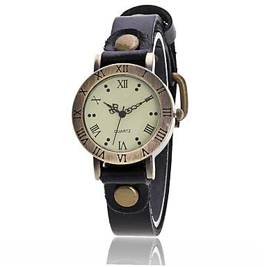 Women's Fashion Watch Wrist Watch Quartz Leather Black / White / Blue Cool Punk Analog Ladies Charm Vintage Casual Bangle - Red Green Blue