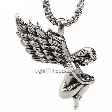 Herre Dame skytsengel Damer Mode Titanium Stål Sølv Halskæder Smykker Til Daglig
