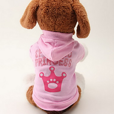 Cat Dog Hoodie Dog Clothes Tiaras & Crowns Pink Cotton Costume For Pets Women's Fashion