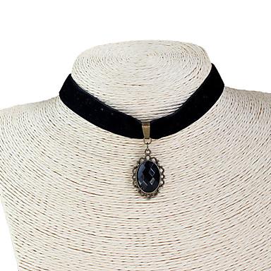Γυναικεία Κολιέ Τσόκερ Circle Shape Oval Shape Συνθετικοί πολύτιμοι λίθοι Δαντέλα Πανκ Στυλ Κοσμήματα Για Πάρτι
