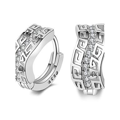 للمرأة أقراط الزر أقراط طارة كريستال تصفيح بطلاء الفضة مجوهرات زفاف حزب يوميا فضفاض مجوهرات