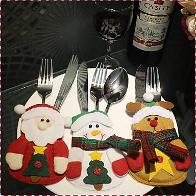 1cover3pcs) 신기한 것을 좋아하는 3different 크리스마스 장식 스타일은 축제 분위기 크리스마스 나이프와 포크 커버가