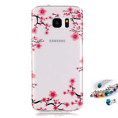 Etui Käyttötarkoitus Samsung Galaxy S7 edge S7 IMD Läpinäkyvä Kuvio Takakuori Kukka Pehmeä TPU varten S7 edge S7 S6 edge S6 S5 Mini S5