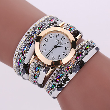 Women's Bracelet Watch / Wrist Watch Cool Alloy Band Charm / Sparkle / Vintage Black / White / Blue / One Year