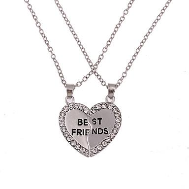 Męskie Damskie Naszyjniki z wisiorkami Breloczki Naszyjnik Y-Naszyjniki Biżuteria Heart Shape Imitacja diamentu Stop Unikalny Miłość