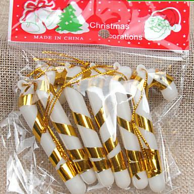 6db a karácsonyfa díszek kis édességet vesszők 7cm véletlenszerű szín