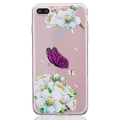용 반투명 케이스 뒷면 커버 케이스 꽃장식 소프트 TPU Apple 아이폰 7 플러스 / 아이폰 (7) / iPhone 6s Plus/6 Plus / iPhone 6s/6 / iPhone SE/5s/5