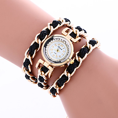 Kadın's Bilezik Saat Moda Saat Quartz Taşlı / PU Bant İhtişam Bohem Halhal Siyah Beyaz Kırmızı Pembe