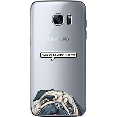 Etui Käyttötarkoitus Samsung Galaxy S7 edge S7 Ultraohut Läpinäkyvä Kuvio Takakuori Koira Pehmeä TPU varten S7 edge S7 S6 edge plus S6