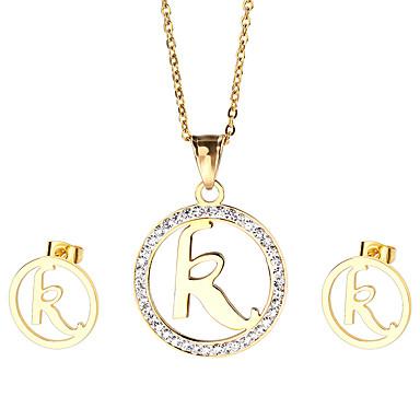 Damskie Zestawy biżuterii Rhinestone Początkowa Biżuteria Stal nierdzewna Pozłacane 1 Naszyjnik 1 parę kolczyków Na Impreza Codzienny