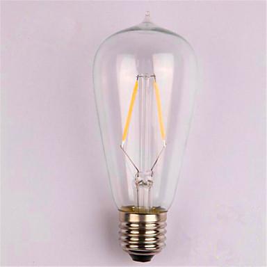 1kpl 2W 200lm E26 / E27 LED-hehkulamput ST58 2 LED-helmet COB Koristeltu Lämmin valkoinen 220-240V