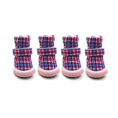 Köpek Ayakkabılar ve Botlar Sıcak Tutma Moda Kar Botları Kareli Kırmzı Mavi Pembe Evcil hayvanlar için
