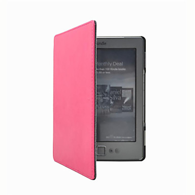 billige Tablett-etuier-Veske til Kindle 4 / amazon full body cases full body cases solid farge hard pu lær for Kindle 4