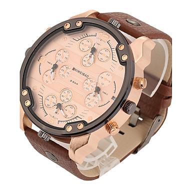 Men's Quartz Wrist Watch Military Watch Sport Watch Calendar / date / day Punk Dual Time Zones Leather Band Vintage Casual Dress Watch