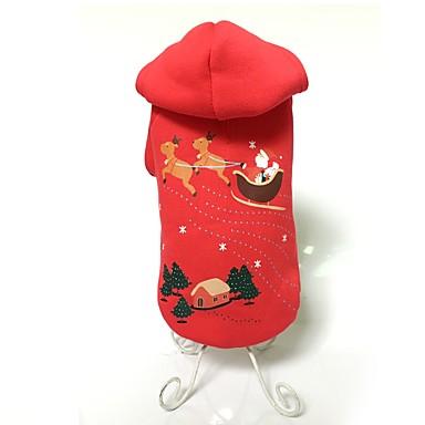 Câine Hanorace cu Glugă Îmbrăcăminte Câini Draguț Keep Warm Modă Crăciun Animal Rosu Costume Pentru animale de companie