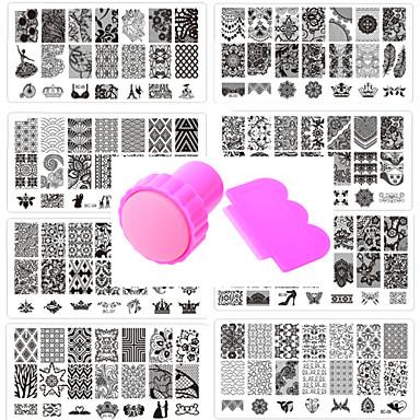 10 Placa de Carimbar Modelo de estampa de unhas Ferramenta de arte de unhas Roupa Flor