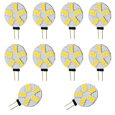 Kirkas pyöreä g4 led-lamppu 2w 150-200lm 15 smd 5730 auto rv sisä / lämmin valkoinen 12-24v tasavirta (10 kpl)