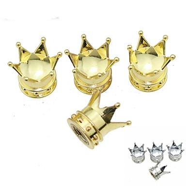pneu de carro de luxo lmperial coroar cobre válvulas decoração cap (4 peças por pacote)