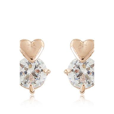 Κουμπωτά Σκουλαρίκια Ζιρκονίτης Cubic Zirconia Κράμα Μοντέρνα Heart Shape Χρυσό Ασημί Κοσμήματα Καθημερινά 1 ζευγάρι