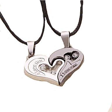 Coliere cu Pandativ Inimă Iubire Piele Oțel titan Argintiu / negru Coliere Bijuterii 2pcs Pentru Cadouri de Crăciun Nuntă Petrecere Zilnic Mascaradă Petrecere Logodnă