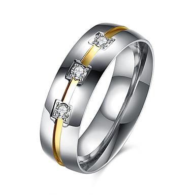 Ανδρικά Δαχτυλίδι Πολυτέλεια Μοντέρνα Ευρωπαϊκό Κρύσταλλο Ανοξείδωτο Ατσάλι Τιτάνιο Ατσάλι Προσομειωμένο διαμάντι Κοσμήματα Πάρτι