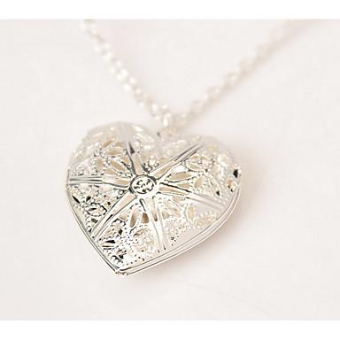 Kadın's Uçlu Kolyeler - Som Gümüş Kalp Gümüş