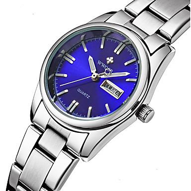 זול שעוני גברים-WWOOR בגדי ריקוד נשים שעון יד קווארץ מתכת אל חלד כסף עמיד במים אנלוגי נשים קסם פאר יום יומי אופנתי - לבן ורוד נייבי שנתיים חיי סוללה