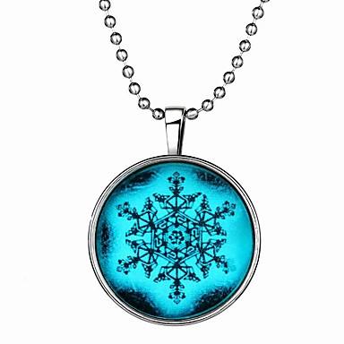 Damskie Naszyjniki z wisiorkami Circle Shape Płatek śniegu Syntetyczne kamienie szlachetne Stop Styl Punk Chrismas Podświetlony Biżuteria