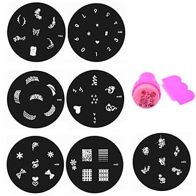 Bloem - Vinger / Teen - Andere versieringen - Metaal - 10pcs nail plates+ 1set nail stamper and scraper - stuks 5.5cm for dia - (cm)